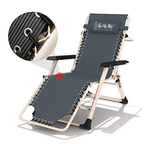 Silla plegable de salon de almuerzo para descanso de la oficina de la cama plegable balcon siesta silla de acompanamiento plegable cama cesped, silla de salon, gris, 178*62*25cm