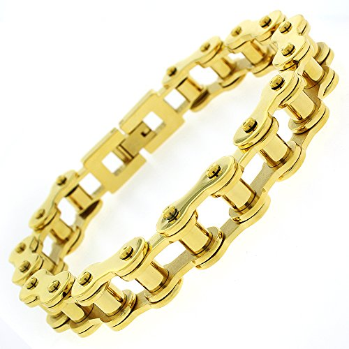 Stainless Steel Mens Yellow Gold Plated Bicycle Bike Chain Link Bangle Bracelet 8.5