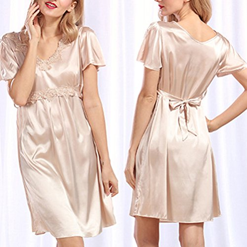 Zhhlaixing Fashion Silk Bridesmaid Bride Robe Women Short Satin Wedding Kimono Robes Sleepwear Nightgown Dress Woman Bathrobe Pajamas 2095# Camel