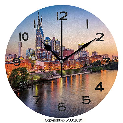 SCOCICI Print Round Wall Clock, 10 Inch Cumberland River Nashville Tennessee Evening Architecture Travel Destination Quiet Desk Clock for Home,Office,School