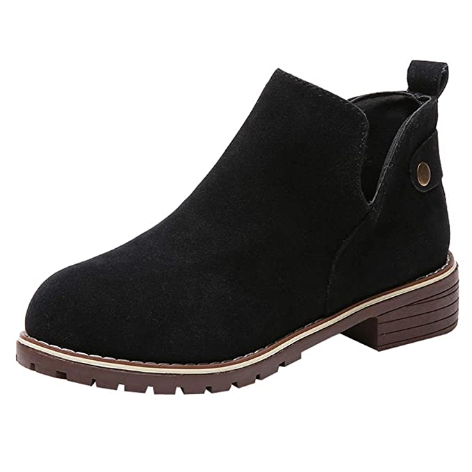 c840e015af582 Memela Women Casual Slip on Ankle Boots Flat Booties Hasp Suede Solid Color  Martin Boots