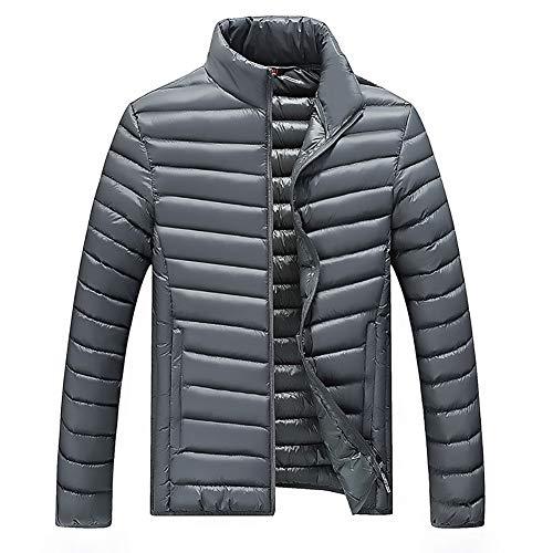 Herren-Down-Jacke, Massive Farbe Stehkragen Reißverschluss Leicht Kurzen Absatz Kann In Winter Warme Sportjacke Gelagert Werden,grau,XL