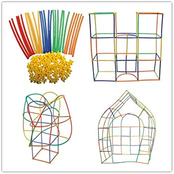 Straw Constructor Interlocking Plastic Enginnering Toys 300 pcs-Colorful Building Toys- Fun- Educational- Safe for Kids- Develops Motor Skills-Construction Blocks- Best Gift for Boys and Girls