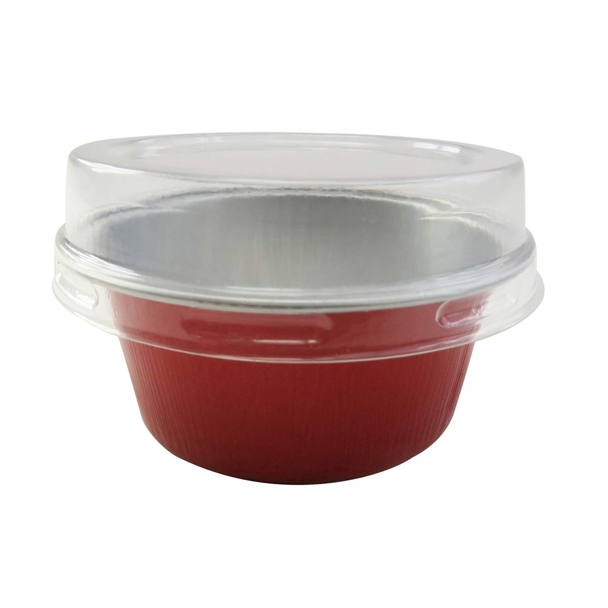 KitchenDance Disposable Aluminum Mini Baking Cups/Dessert Cups- 1-1/2 oz Capacity- Pack of 100 (With Lids, Red)
