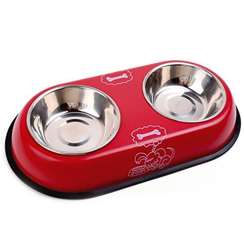 Nikgic 2 en 1 Double Bol Distributeur de Nourritures Gamelle en Acier Inox de Haute Qualité Écuelle à chat Bols avec Support Pour Petit Moyen Chien Chat Chiot etc