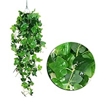HANXIAODONG Unique Decorative Wall Hook Artificial Ivy Plant Leaves Garland Hanging Vine for Wedding Party Garden Wall Decoration (Color : B)