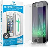 Power Theory iPhone SE/5S/5 Glass Screen Protector [2-Pack] with Easy Install Kit [Premium Tempered Glass]