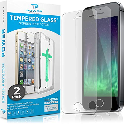 Power Theory iPhone SE/5S/5 Glass Screen Protector [2-Pack] with Easy Install Kit [Premium Tempered Glass] (Best Tempered Glass Screen Protector Iphone 5s)