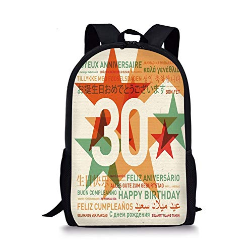 School Bags 30th Birthday Decorations,Happy Birthday Celebration in Different Languages From the World,Multicolor for Boys&Girls Mens Sport Daypack -