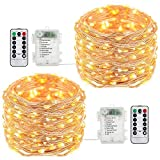 Tomshine Copper String Lights 8 Modes 32.8foot Fairy Lights with Remote Control Waterproof Brightness Adjustable Battery Powered Operated Warm White for Halloween Home Party (2 Pack)