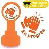 En progrés - Tampon Encreur Automatique Pour Enseignant. Encre Orange Brillante (Fluorescent).