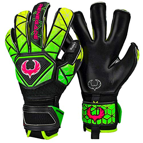 - Renegade GK Vortex Venom Roll-Hybrid Cut Level 3 Adult & Kids Goalie Gloves Soccer with German Hypergrip Palms - Girls & Boys Soccer Goalie Gloves - Size 7 Goalie Gloves - Black, Yellow, Green