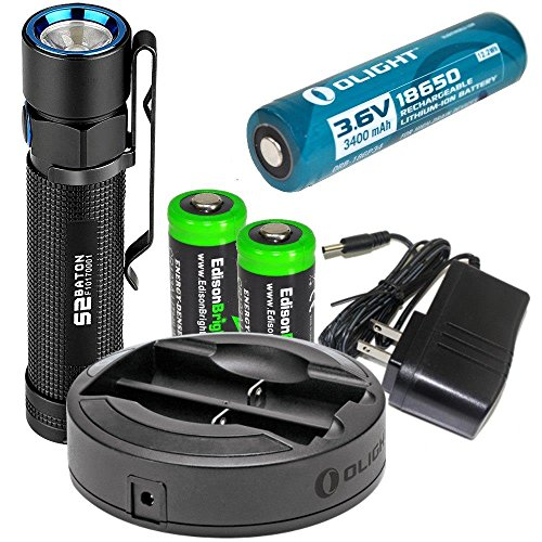 EdisonBright Olight S2 950 Lumen CREE XM-L2 U3 LED Flashlight, Olight Omni-DOK Universal Battery Charger, Olight 18650 3400mAh Li-ion rechargeable battery with two CR123A Lithium Batteries