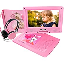 """FUNAVO 9.5"""" Portable DVD Player with Headphone, Carring Case, Swivel Screen, 5 Hours Rechargeable Battery, SD Card Slot and USB Port (Pink)"""
