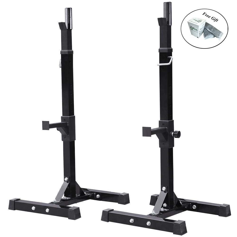 Eight24hours Fully Adjustable Heavy Duty Steel Squat Station Bench Press Bar Weight Lift Rack