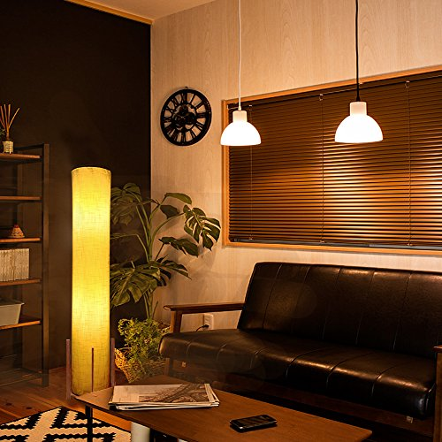 HOOOM Floor Lamp 52'' Led Modern Design Wood Base with Double Soft Diffused Linen Fabric Shade, Tall Unique Bedroom Standing Floor Lamp for Living or Family Room, Office, Placed In a Corner Space Saver by HOOOM Floor Lamp (Image #4)