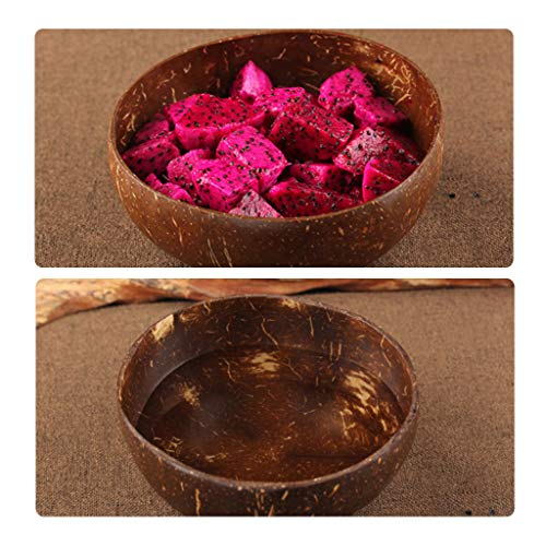 AIUSD Clearance , Natural Coconut Shell Bowl Rice Fruit Bowl Handicraft Art Work Home Tableware ()
