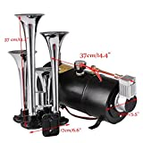 PEATAO 12V 4 Trumpets Air Horn Kit Air Compressor Powerful 100 PSI Horn Kit for Boat Car Train Tank and Gauge