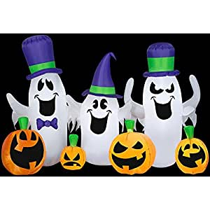 9 ft. L x 4 ft. H Halloween Inflatable Decoration Spooky Ghosts and Jack O' Lanterns Collection, Lights Up And Easy To Store