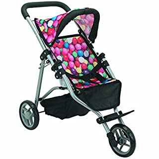 Mommy & Me Doll Stroller Fold-able Doll Jogger for Baby Dolls with Adjustable Handle, Basket, Gumball, Fits 18 Inch Doll