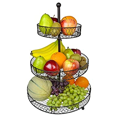 3 Tier Country Rustic Chicken Wire Style Metal Fruit Baskets / Kitchen Storage Organizer Rack - MyGift
