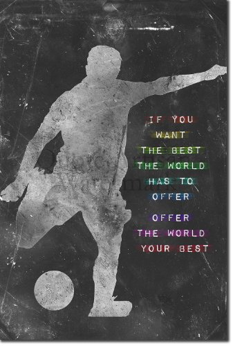 Football / Soccer Motivational Poster 04 ''If you want the best the world has to offer, offer the world your best.'' Photo Art Print Motivation Inspiration Inspirational Quote 12x8 by Introspective Chameleon