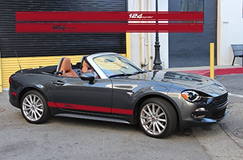 Fiat 124 Spider side decal rocker stripe L+R set (Red) Fiat Spider