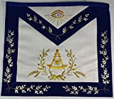 Hand Embroidered Masonic Past Master Mason Apron Royal Blue Gold & Silver Bullion Embroidery