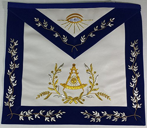 Hand Embroidered Masonic Past Master Mason Apron Royal Blue Gold & Silver Bullion Embroidery by Zest4Canada