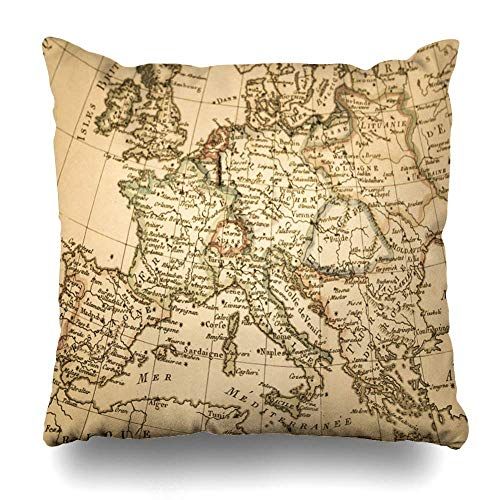 AlliuCoo Throw Pillow Covers Italy Antique Old Map Europe Greece France Mediterranean Spain Germany Travel Design Home Decor Zippered Cushion Case Square Size 16