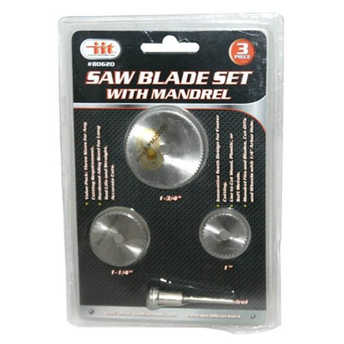 IIT 80620 Rotary Tool Saw Blade Set with Mandrel, 3-Piece