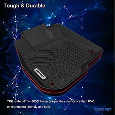 oEdRo Floor Mats Compatible for 2020-2020 Honda CR-V, Unique Black TPE All-Weather Guard Includes 1st and 2nd Row: Front, Rear, Full Set Liners: Automotive