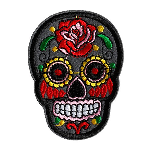 Hunulu Sugar Skull Flower Iron On Applique Embroidered Patch DIY Sewing Patch Sticker (Gray)