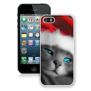 Custom Design Iphone 5S Protective Cover Case Christmas Cat iPhone 5 5S TPU Case 6 White