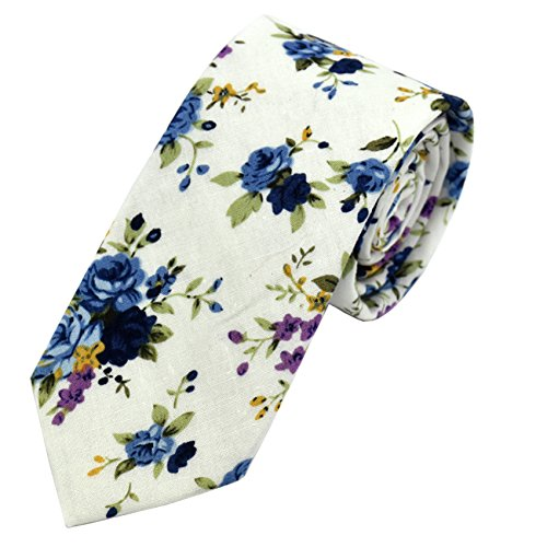 Men's Tie Floral Fashion Neck Ties Causal Formal Occasion Wedding Business (White H1)