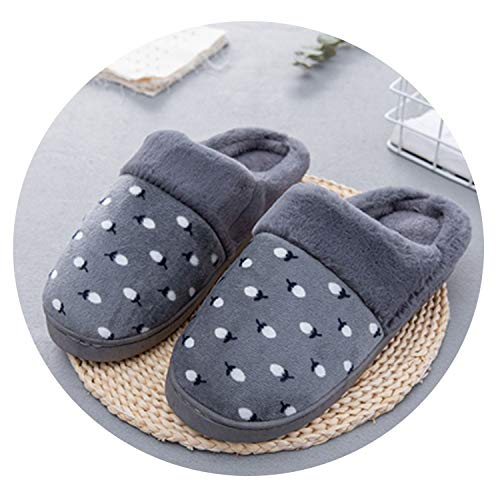 - New Autumn & Winter Litchi Print Cotton Slippers Plush Warm Home Slippers Indoor Shoes,Gray,9.5