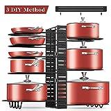 Pot Rack Organizer, 3 DIY Methods, Adjustable Height and Position, 8+ Pots Holder, Black Metal Kitchen Cabinet Pantry Pot Lid Holder, include Magnetic Knife Strip