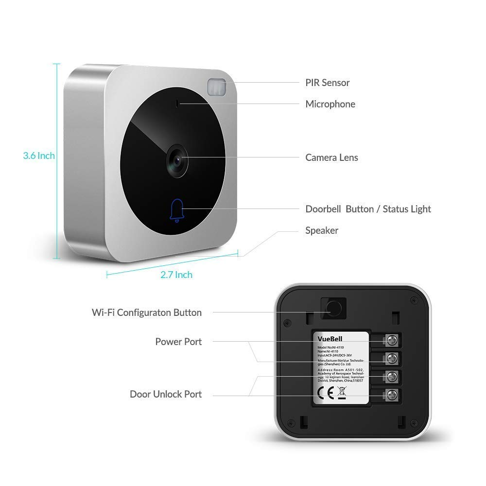 Video Doorbell, NETVUE Wireless Doorbell Camera with Two-Way Talk, IR Motion Detection, Night Vision, Compatible with Alexa Echo Show, Wifi Camera Doorbell with Cloud Storage [Wall Plug Included] (A) by NETVUE (Image #8)