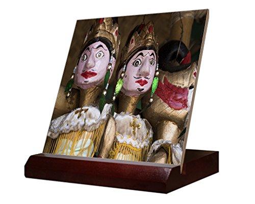 Wayang Golek Wood Puppet Ceramic Tile & Stand 4