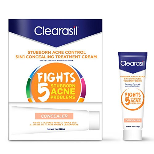 Clearasil Stubborn Acne Control 5in1 Concealing Treatment Cream, 1 oz, Benzoyl Peroxide Acne Medication (Pack of 2)