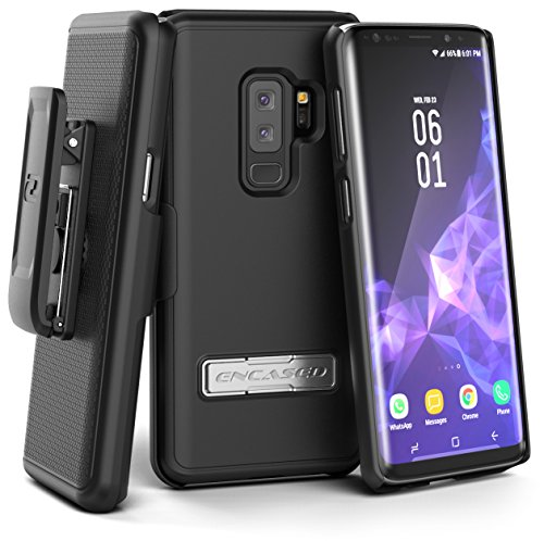 Encased Galaxy S9 Plus Belt Case with Kickstand and Holster Clip, Ultra Thin Slimline Combo Shell Cover with Durable Metal Stand for Samsung S9+ (Smooth Black)