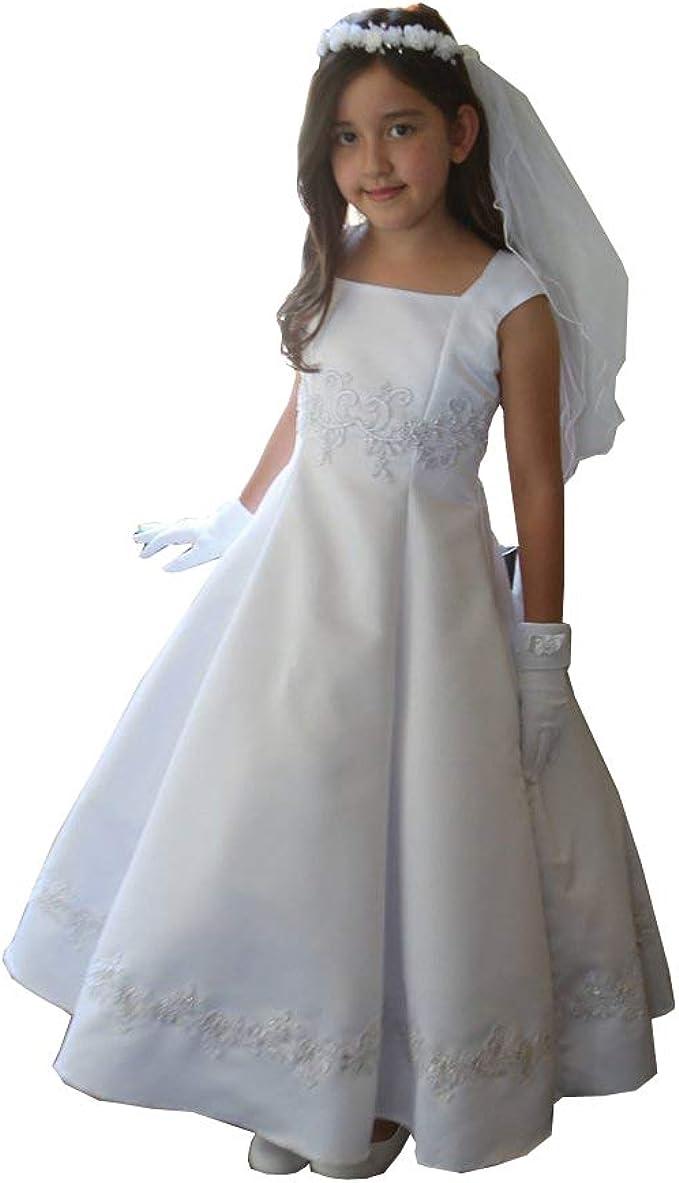 GIRLS SATIN FLOWER /& PEARL PARTY DRESS FLOWER GIRL WEDDING BRIDESMAID 2-12 YEARS