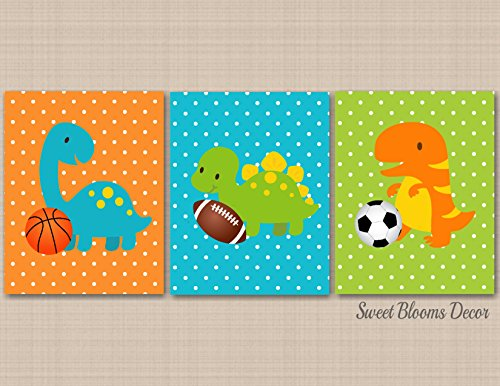 Dinosaur Nursery Wall Art,Sports Dinosaur Kids Wall Art,Dinosaur Nursery Decor,Dinosaur Bathroom,Dinosaur Playroom Wall Art-UNFRAMED Set of 3 PRINTS (NOT CANVAS) C221