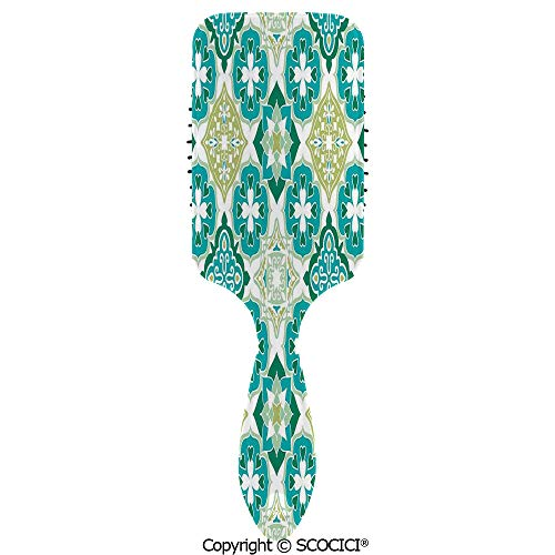 Detangling Hair Brush Soft Comb Cushion Air Colored Tiled Pattern Geometrical Diagonal and Triangle Forms Oldest Craft Hairbrush for Women Reducing Hair Breakage and Frizzy, No More Tangle ()