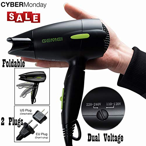 Dual Voltage Hair Dryer Travel Professional Folding Blow Dryer 1300 to 1500W Negative Ion Small Lightweight Mini 9x10 Inch Size Christmas Gifts for Women Green (NOT POWERFUL for Travel & daily use)