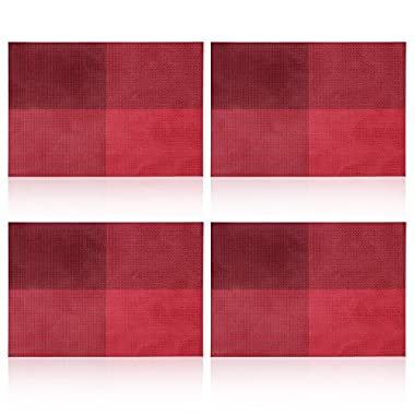 Placemat,U'artlines Grid Red Crossweave Woven Vinyl Non-slip Insulation Placemat Washable Table Mats Set of 4