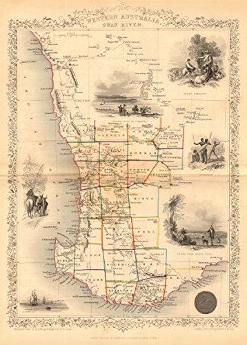 Perth On Australia Map.Amazon Com Western Australia Swan River Perth Vignette Counties