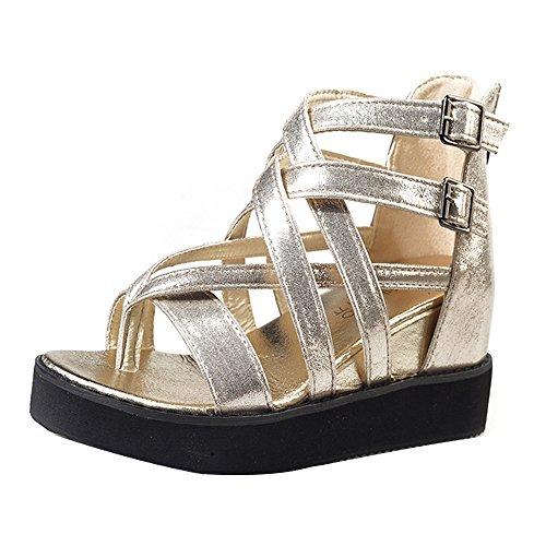 Ularma Verano sandalias Peep-toe sandalias zapatos de las mujeres Oro