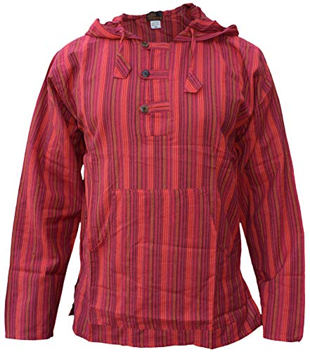 GHERI Men's Striped Cotton Light Grandad Hoodie Kurtas Red Small