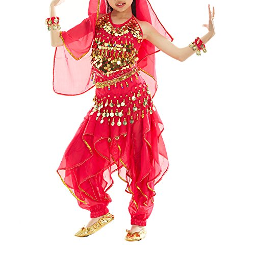 BellyLady Kid Belly Dance Costume, Harem Pants & Halter Top For Halloween-rose (Child Belly Dancer Halloween Costume)